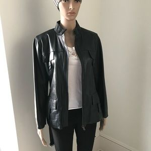 Vera Pelle Black Italian Leather Moto Jacket